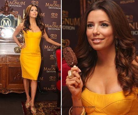 El look de Eva Longoria en la promoción de los helados Magnum