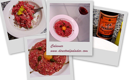 Collage foto steak tartare