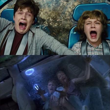 Jurassic World y Jurassic Park, niños asustados