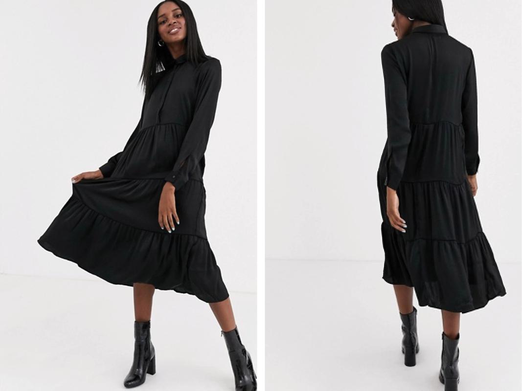Vestido camisero largo con diseño a capas en negro de JDY