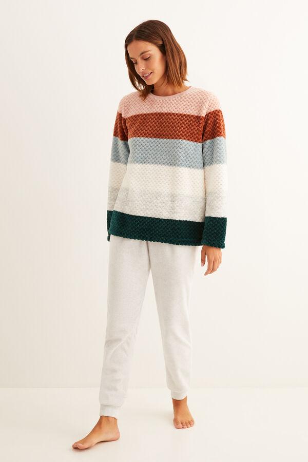 Pijama polar con estampado de rayas