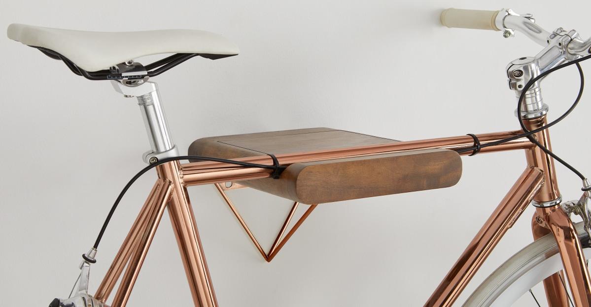 Soporte para bicicleta Dayde, madera y cobre