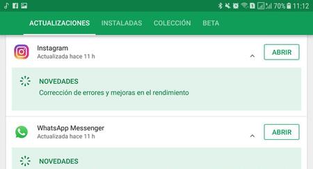 Google Play te muestra la lista de cambios de las actualizaciones recientes, de nuevo