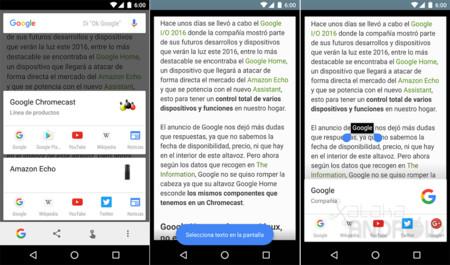 Google Now on Tap ahora te permite seleccionar el texto de cualquier aplicación o imagen