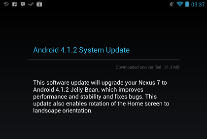 Jelly Bean 4.1.2 Nexus 7