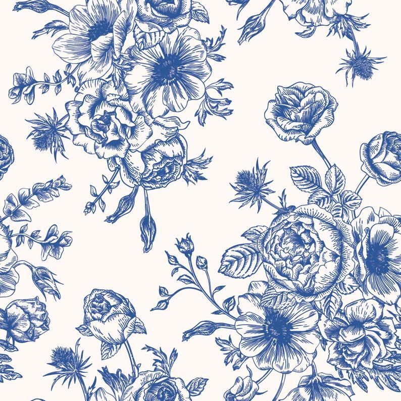 Blue Flora theme Wallpaper | Self Adhesive Wallpaper