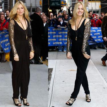 El look de Sienna Miller en Show de David Letterman