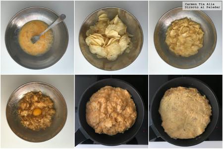 Paso A Paso Tortilla De Patatas Con Patatas Fritas De Bolsa