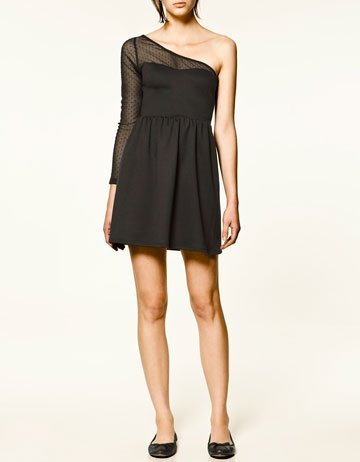 vestido asimetrico zara negro