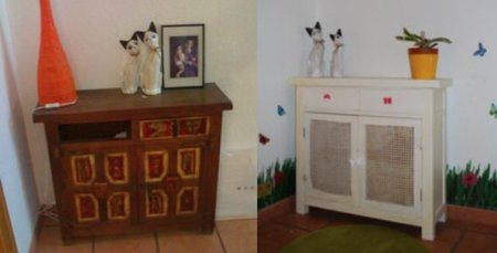 antes y despues mueble descansillo