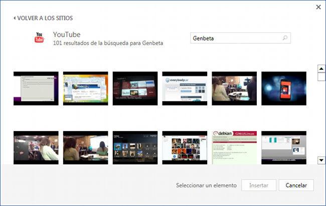 Buscando vídeos en Word 2013