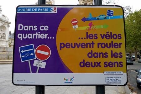 Indicación para bicicleta en París