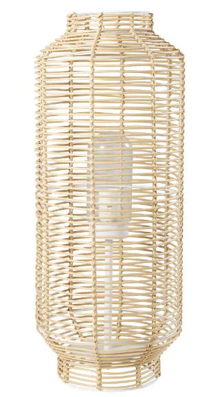Lámpara de exterior trenzada de imitación a fibra vegetal