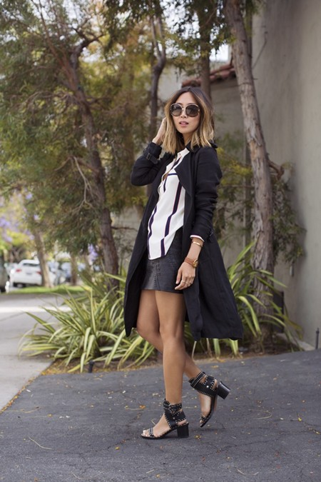 Aimee Song Black Trench Striped Shirt Isabel Marant Sandals