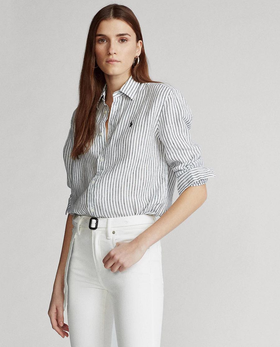 Camisa de mujer de lino de rayas