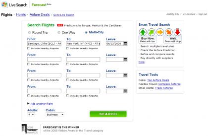 Live Search Farecast, buscador de vuelos y hoteles