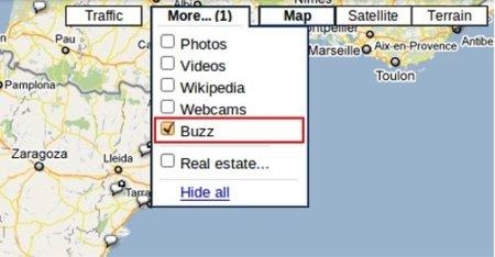 Google maps añade una capa para Buzz en su versión web