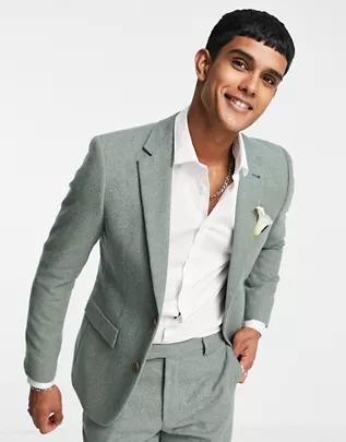 Chaqueta de traje de corte slim de tweed de mezcla de lana de Harry Brown