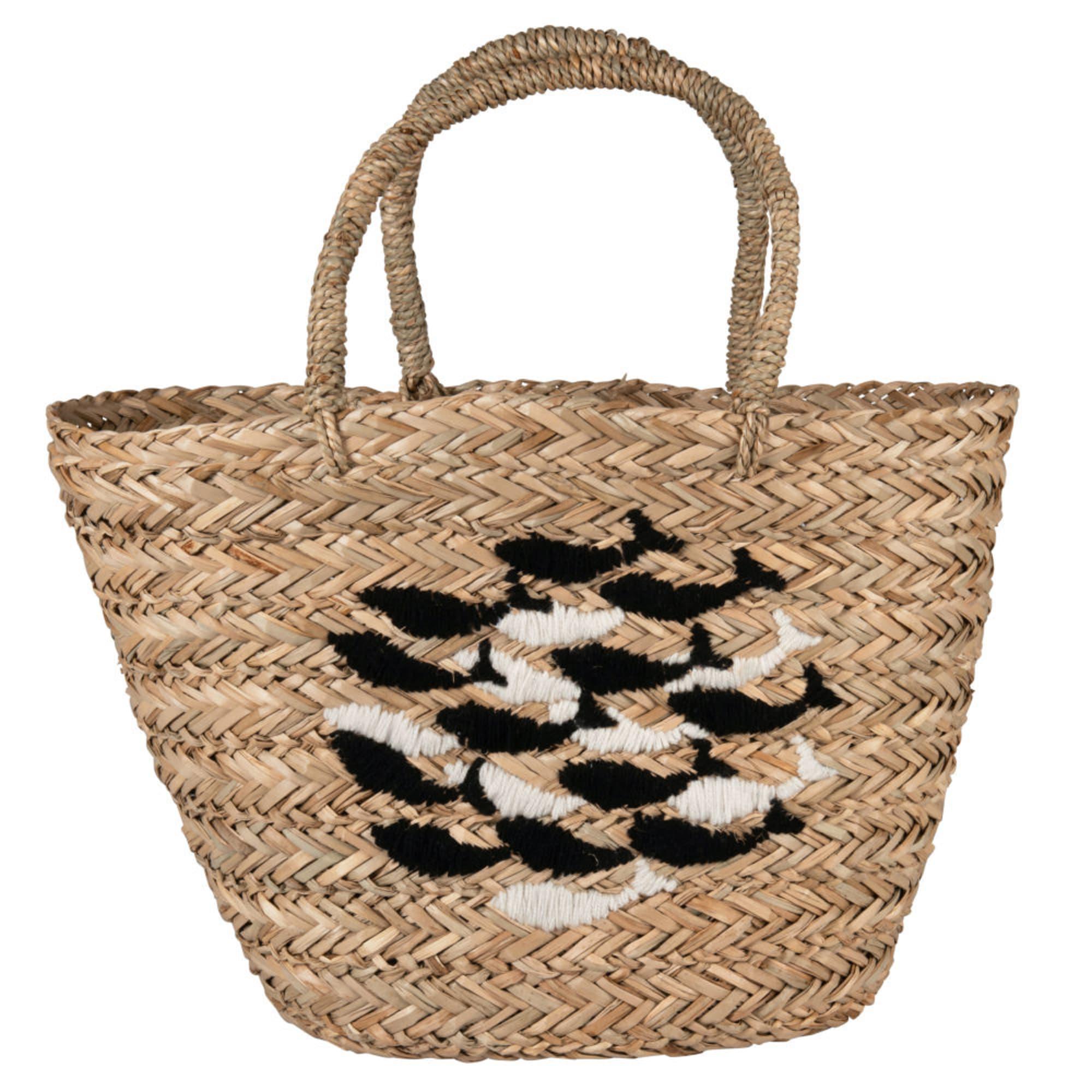 Cesta de yute con estampado de banco de peces negro y gris.