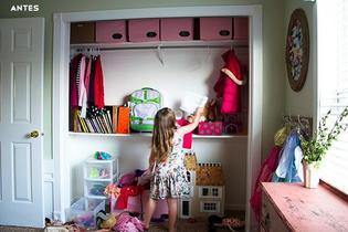 Antes y después: un armario convertido en zona de estudio en un dormitorio infantil