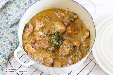 Receta de conejo guisado con salsa de foie y coñac