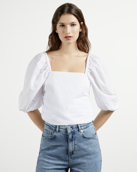 Square Neck Embroidery Sleeve Top
