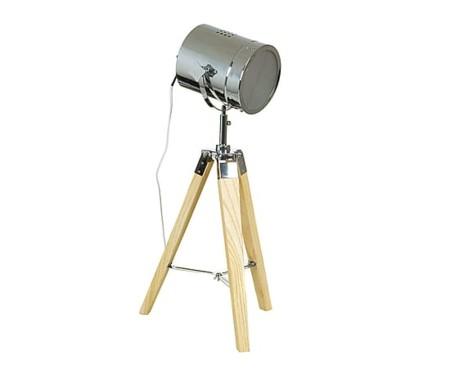 Lámpara sobre trípode de madera