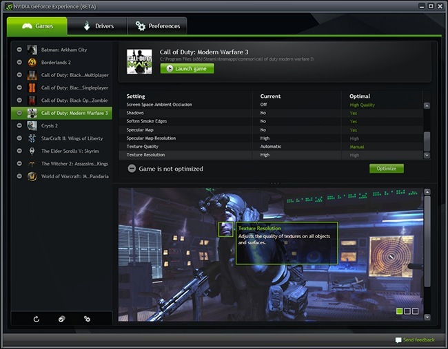GeForce Experience software