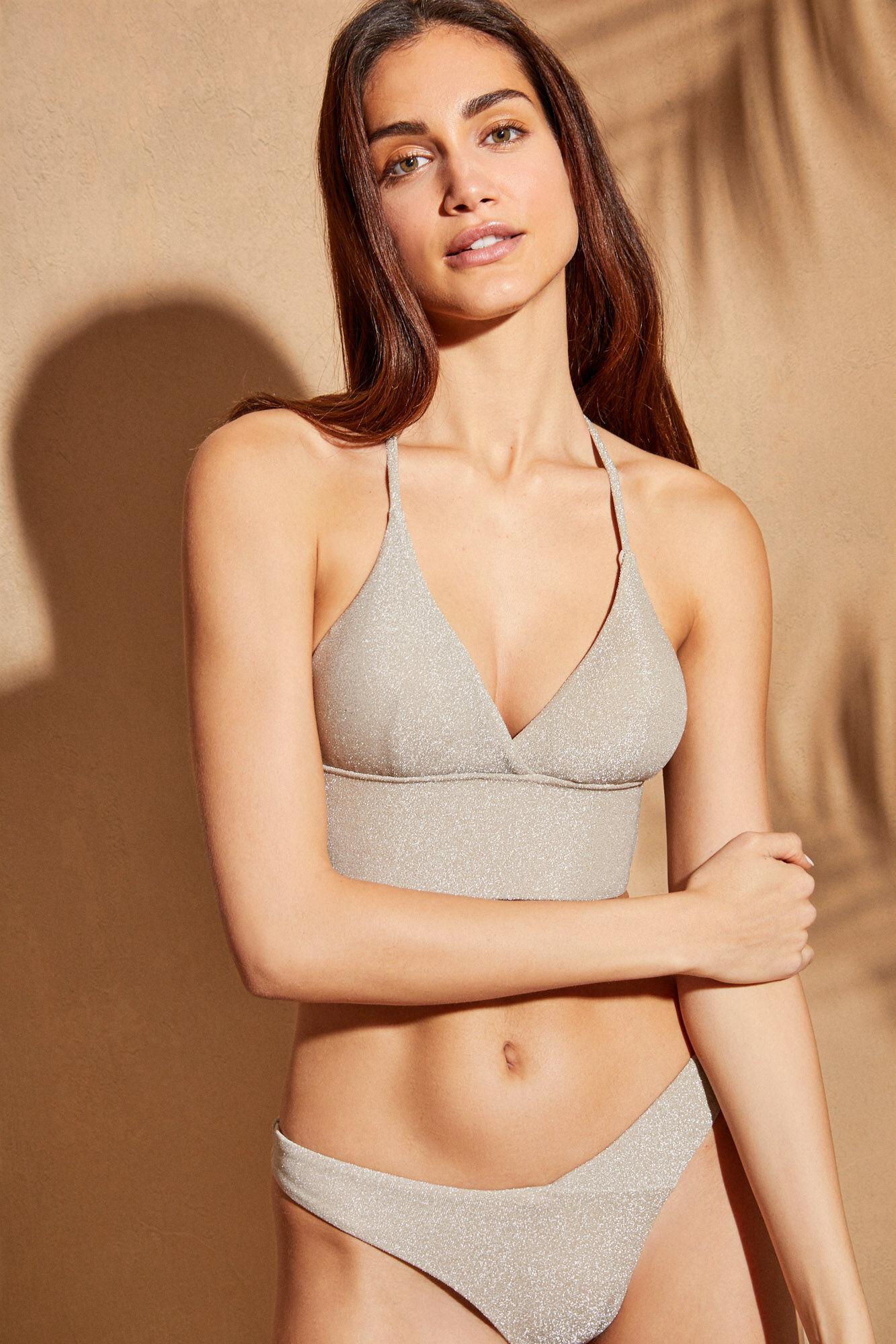 Top bikini bralette tejido brillante