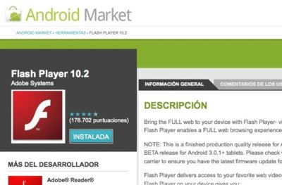 Adobe Flash 10.2 ya se encuentra disponible en Android Market