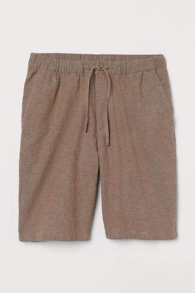 Pantalón corto en lino con cordón