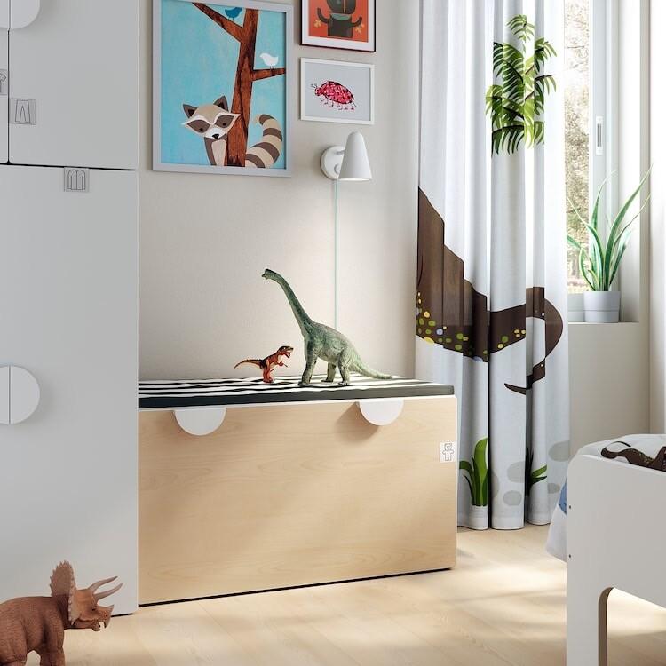 Banco con almacenaje juguetes, blanco/abedul90x50x48 cm