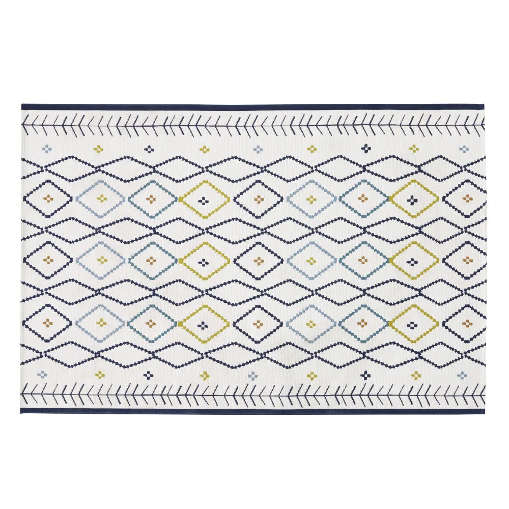 Alfombra de exterior tejida color crudo con motivos gráficos multicolores 160x235 cms