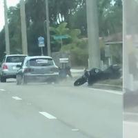 Arrestado por tirar deliberadamente a un motorista en una maniobra que pone los pelos de punta