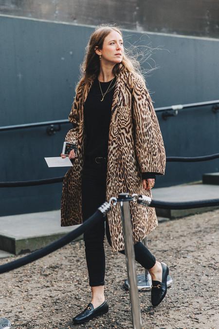 Lfw London Fashion Week Fall 16 Street Style Collage Vintage Jennifer Neyt Chloe Coat Leopard Gucci Loafers