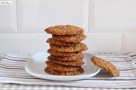 Receta rápida de galletas finas y crujientísimas de copos de avena