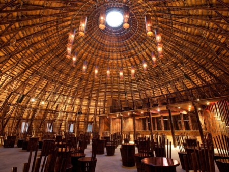 This Stunning Bamboo Dome Is About An Hour From Ho Chi Minh City Despite Sitting In The Middle Of An Artificial Lake Thewater And Wind Caf Is Made Entirely Of Natural Materials Even The Furniture Is Bamboo The 32 Foot High Bamboo And Bush Covered St