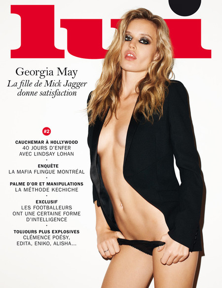 Georgia May Jagger topless Lui portada