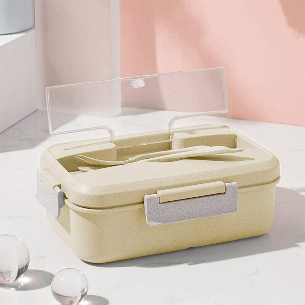 Caja de Bento, ZoneYan Lunch Box Infantil, Fiambreras con 3 Compartimentos, Cuchara Tenedor Lonchera, Fiambreras Caja de Almuerzo Ideal para Microondas