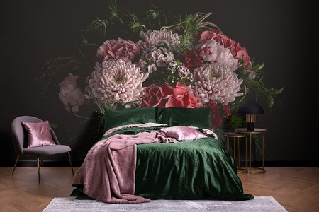 Papel Pintado Fotografico Bouquet De Peonias Hortensias Y Crisantemos En Fondo Negro Lifestyle Image
