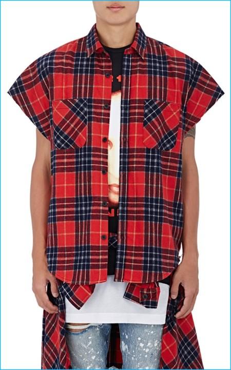 Justin Bieber 2016 Purpose Tour Xo Barneys New York Brushed Flannel Sleeveless Shirt
