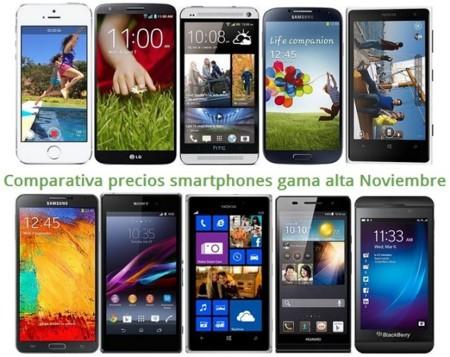 Comparativa Precios iPhone 5S, Lumia 1020, Galaxy S4, Xperia Z1, LG G2, HTC One y otros gama alta en Noviembre de 2013