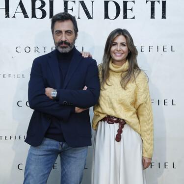 Nuria Roca nos inspira con un total look de Cortefiel formado por un jersey de punto, una falda midi satinada y unas botas altas