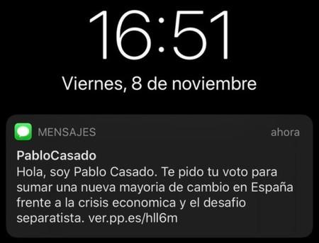 SMS de Pablo Casado