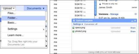 Google Docs mejorará la subida de ficheros al servicio con tres nuevas funcionalidades