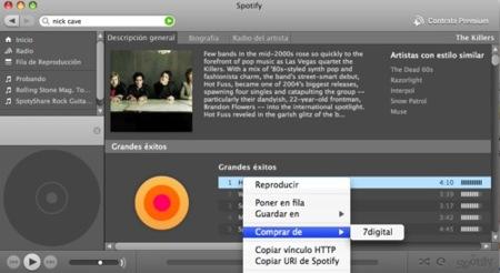 Spotify en castellano y con compra de música