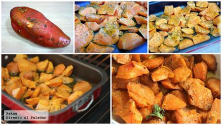 Batatas o boniatos especiados al horno