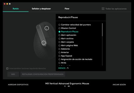 Menú de configuración del MX Vertical, donde se puede elegir la acción de cada uno de sus botones.