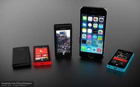 Concepto del Lumia 330 al lado de un iPhone 5S