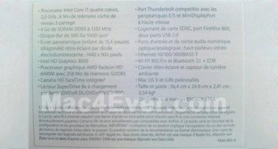 Se filtra una foto con las especificaciones del nuevo MacBook Pro de 15 pulgadas [Actualizado con el resto de modelos]
